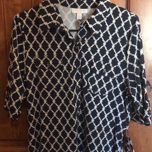 Cute navy pattern wrap dress